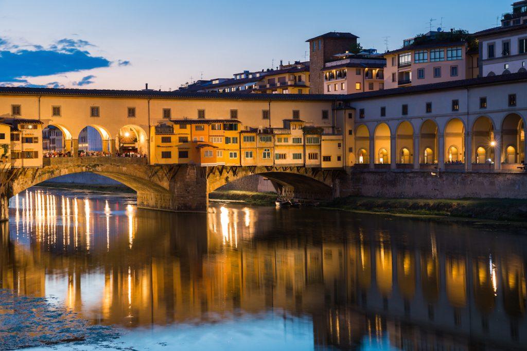 Ponte Vecchio, the old bridge over the Arno river in Florence